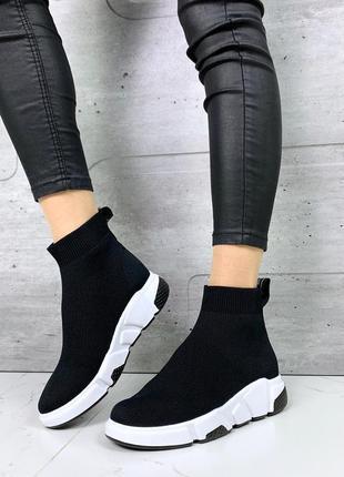 Чёрные текстильные кроссовки,высокие кроссовки носки, кроссовк...