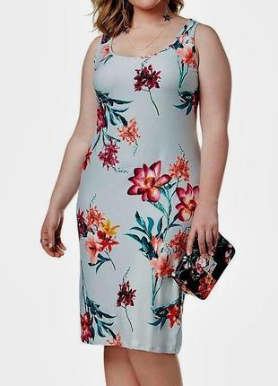 Платье футляр без рукавов  с цветочным принтом из трикотажной ...