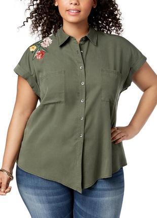 Защитная рубашка с короткими рукавами и вышивкой  цветов по пл...