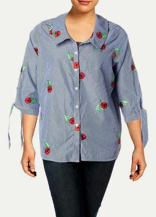 Офисная полосатая рубашка вся вышитая цветочками, рукава 3/4, ...