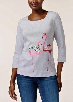 """Свитшот толстовка """"розовый фламинго"""", рукавами 3/4 и вырезом л..."""