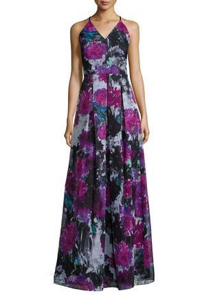 Роскошное платье  макси, цветочный принт, а-силуэт на бретелях...