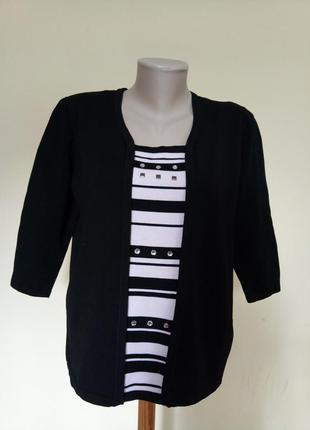 Красивая комбинированная трикотажная блузочка