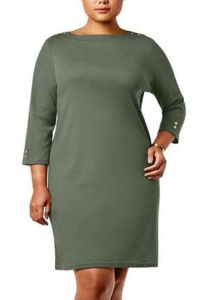 """Платье-свитшот ( cotton) цвет """"оливковая лоза"""" вырез лодочка б..."""