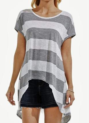 Тонюсенькая футболка туника vince camuto асимметричной длины с...