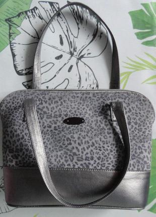 Женская ретро сумка леопардовый принт серая
