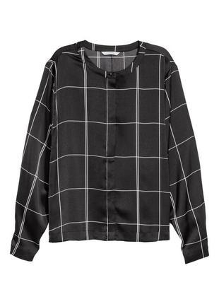 Блуза в клетку черно-белая h&m