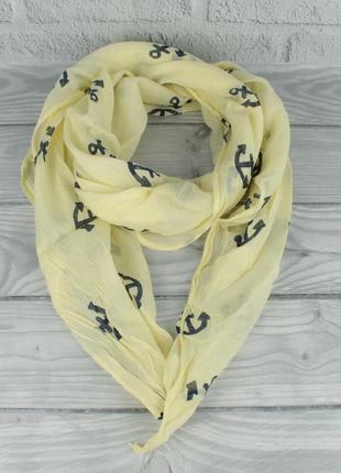 Итальянский шарф girandola 0001-134 желтый с якорьками, коттон...