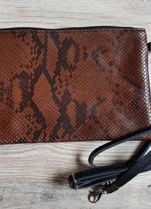 Кожаная сумочка клатч кроссбоди италия