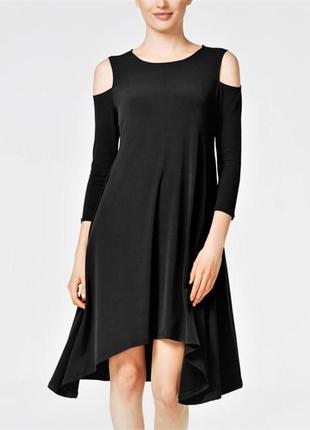 Платье трапеция асимметричной длины с вырезами по плечам, разм...