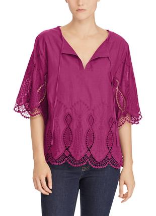 Блуза из купонной прошвы  с  расширенными рукавами 3/4 длины, xl