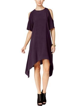 Платье трапеция черничного цвета  с вырезами по  плечам , асим...