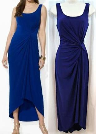 Драпированное платье макси синее асимметричной длины