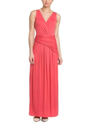 "Платье макси кораллового цвета ""на запах"" (usa) с асимметрично..."