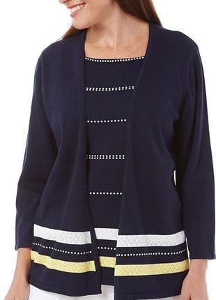 Пуловер - кардиган темно-синий с отделкой в виде ажурных полос...