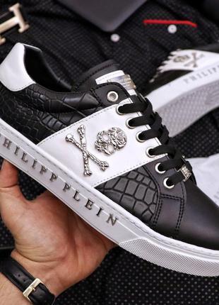 Мужские премиум кроссовки  philipp plein black and white