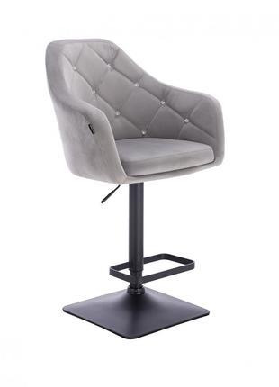 Барный стул HR832 серый велюр