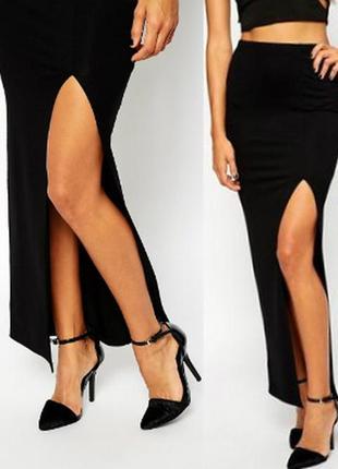 Длинная черная юбка с разрезом на боку размер м (usa) на 44-46 рр