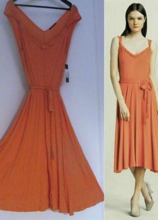 """Брендовое платье """"миди"""" асимметричной длины а-силуэт с поясом ..."""