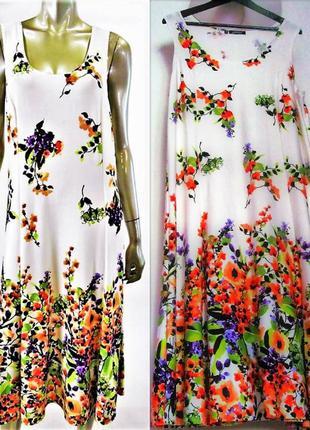 """Платье """"миди"""" без рукавов с цветочным принтом  большемерный xl..."""