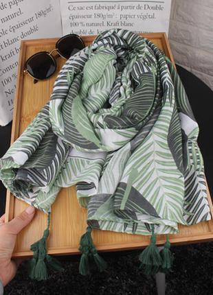 Зеленые листья шарф, палантин, платок