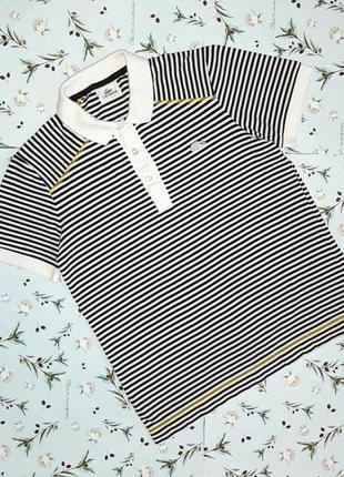 🎁1+1=3 фирменная черно-белая футболка поло в полоску lacoste, ...