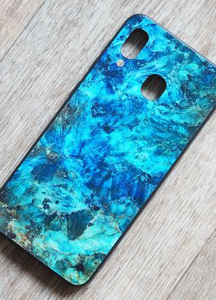 Чехол с закаленным стеклом Malachite для Samsung Galaxy A30