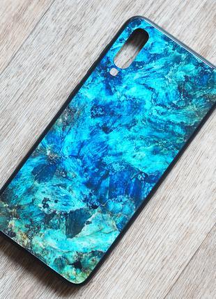 Чехол с закаленным стеклом Malachite для Samsung Galaxy A70