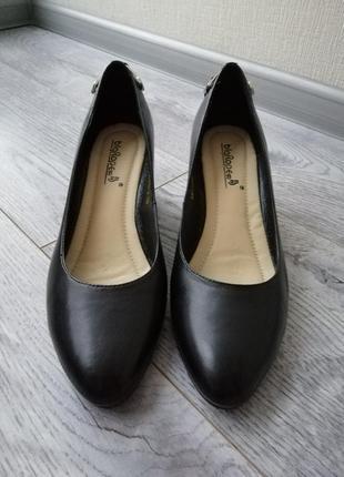 Кожаные туфли на танкетке, туфли на платформе новые