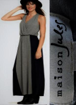"""Платье комбинированное """"на запах"""" макси  длиной """"maison jules""""..."""