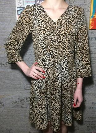 Леопардовое платье миди h&m