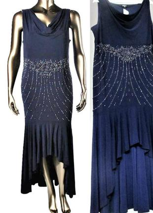Нарядное платье батал (onyx nite) с декором на бедрах асимметр...