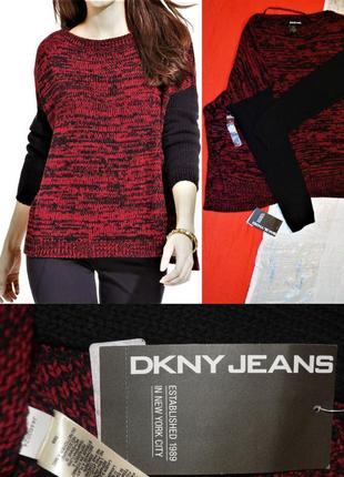 "Свитер оверсайз "" под джинсы"""" dkny jeans"" меланж,черно-красны..."
