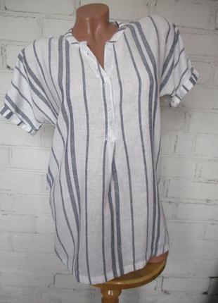 Рубашка в полоску удлиненная/льняная/вискозная/лен/вискоза/s-m