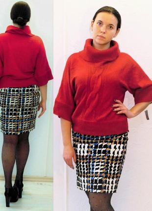 """Красный свитер с рукавом """"кимоно"""" сша с рукавами 3/4 в деловом..."""