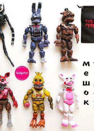 Набор фигурок 5 ночей с Фредди + подарок! Кошмарные аниматрони...