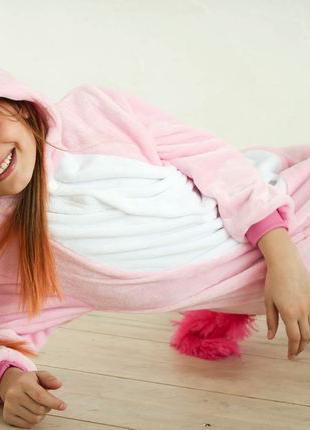 Детская пижама кигуруми • единорог розовый радужный панда футу...