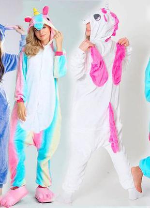 Пижама Кигуруми Единорог розовый радужный голубой Футужама Сти...