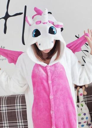 Пижама Кигуруми Единорог бело розовый с крыльями • Оригинал • ...