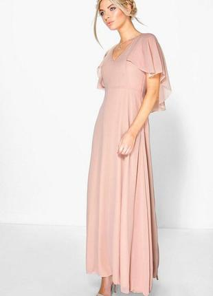 Легке плаття boohoo night платье макси шифоновое пудровое кейп...