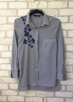 Полосатая рубашка с вышивкой zara