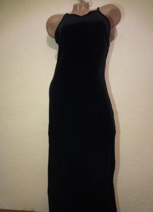 Шикарное велюровое длинное вечернее платье no matter размер m l