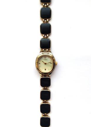 Timex перламутровые часы из сша с золотисто-черным браслетом