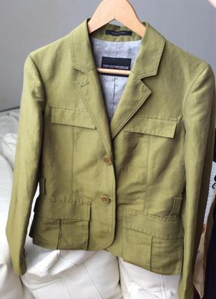 Легкий льняной пиджак тренч жакет emporio armani