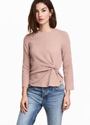 Стильная блуза с драпировкой цвета чайной розы от h&m
