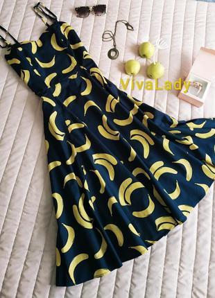 """Роскошное платье, миди (100% хлопок) принт """"бананы"""""""