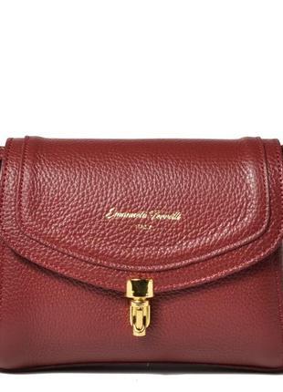Маленькая красненькая итальянская сумочка из натуральной кожи