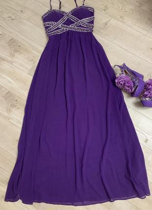 Красивое вечернее платье длинное в пол с камнями на груди разм...