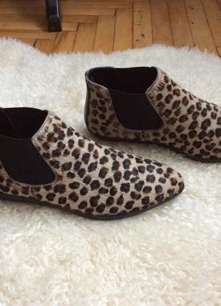 Модные леопардовые челси полуботинки мех пони the flexx италия