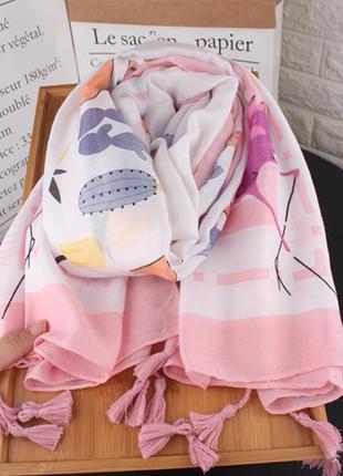 Розовый фламинго шарф, палантин, платок